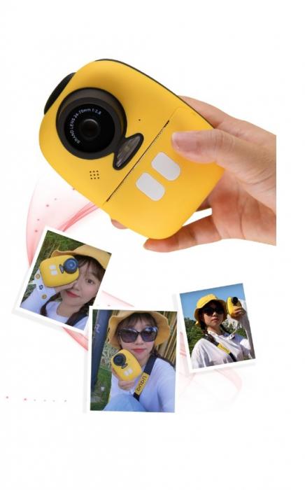 Aparat foto digital instant pentru copii, Lentile Duble, Imprimare Instant, Inregistrare Video, Focalizare Automata, Functie Selfie, 1080P HD, 18MP, 2.0 inch, Smartic®, galben 5