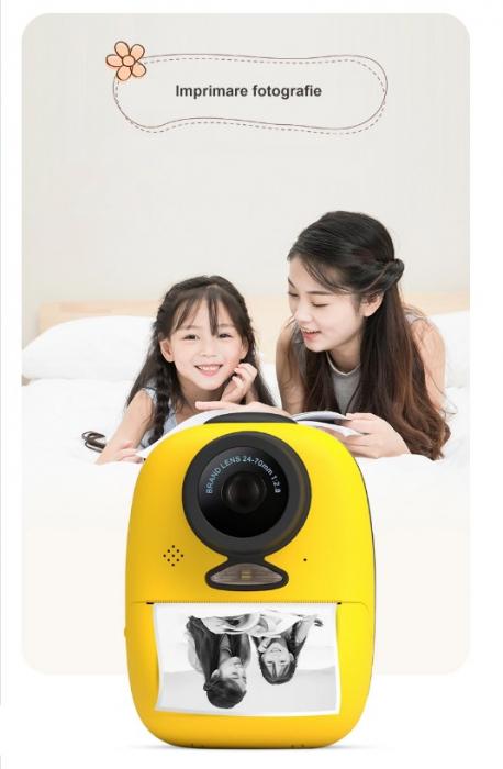 Aparat foto digital instant pentru copii, Lentile Duble, Imprimare Instant, Inregistrare Video, Focalizare Automata, Functie Selfie, 1080P HD, 18MP, 2.0 inch, Smartic®, galben 3