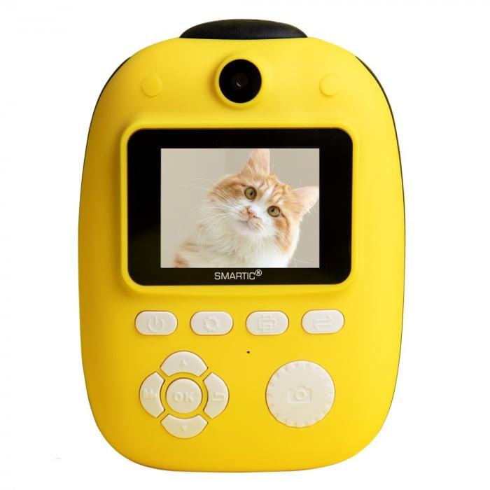Aparat foto digital instant pentru copii, Lentile Duble, Imprimare Instant, Inregistrare Video, Focalizare Automata, Functie Selfie, 1080P HD, 18MP, 2.0 inch, Smartic®, galben 0