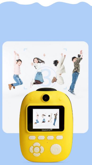 Aparat foto digital instant pentru copii, Lentile Duble, Imprimare Instant, Inregistrare Video, Focalizare Automata, Functie Selfie, 1080P HD, 18MP, 2.0 inch, Smartic®, galben 4