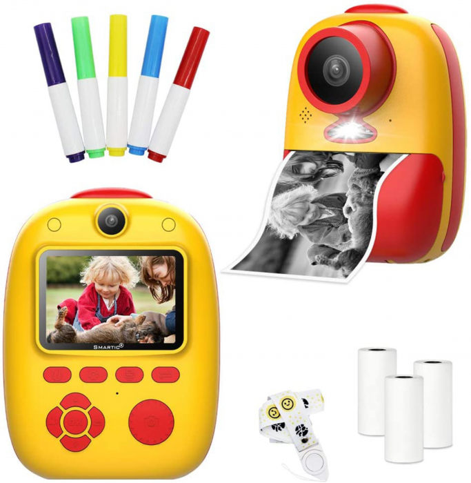 Aparat foto digital instant pentru copii, Lentile Duble, Imprimare Instant, Inregistrare Video, Focalizare Automata, Functie Selfie, 1080P HD, 18MP, 2.0 inch, Smartic®, rosu/galben 1