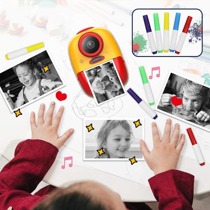 Aparat foto digital instant pentru copii, Lentile Duble, Imprimare Instant, Inregistrare Video, Focalizare Automata, Functie Selfie, 1080P HD, 18MP, 2.0 inch, Smartic®, rosu/galben 2