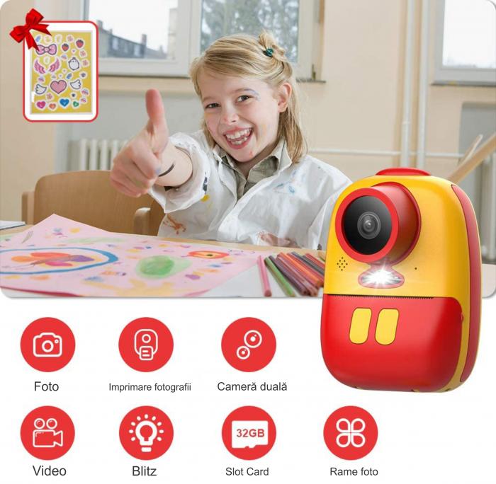Aparat foto digital instant pentru copii, Lentile Duble, Imprimare Instant, Inregistrare Video, Focalizare Automata, Functie Selfie, 1080P HD, 18MP, 2.0 inch, Smartic®, rosu/galben 7
