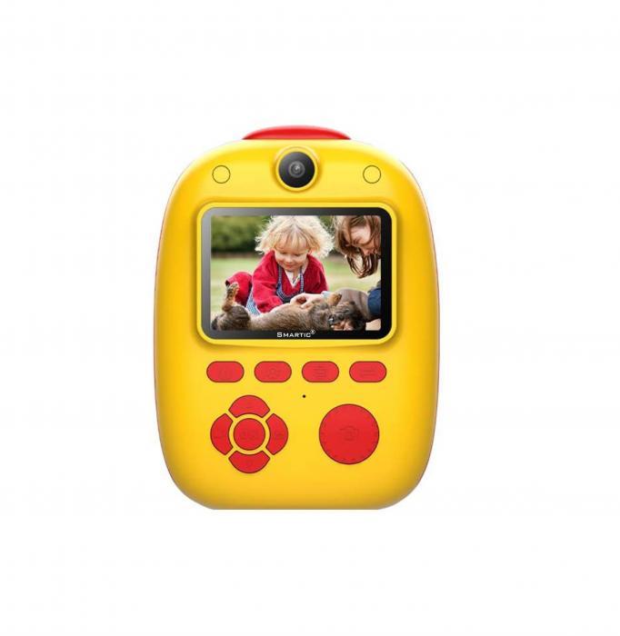 Aparat foto digital instant pentru copii, Lentile Duble, Imprimare Instant, Inregistrare Video, Focalizare Automata, Functie Selfie, 1080P HD, 18MP, 2.0 inch, Smartic®, rosu/galben 0