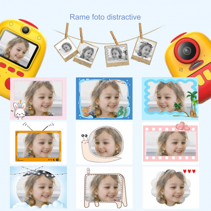 Aparat foto digital instant pentru copii, Lentile Duble, Imprimare Instant, Inregistrare Video, Focalizare Automata, Functie Selfie, 1080P HD, 18MP, 2.0 inch, Smartic®, rosu/galben 8