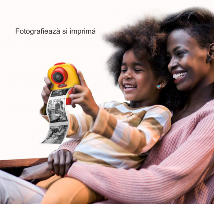 Aparat foto digital instant pentru copii, Lentile Duble, Imprimare Instant, Inregistrare Video, Focalizare Automata, Functie Selfie, 1080P HD, 18MP, 2.0 inch, Smartic®, rosu/galben 6