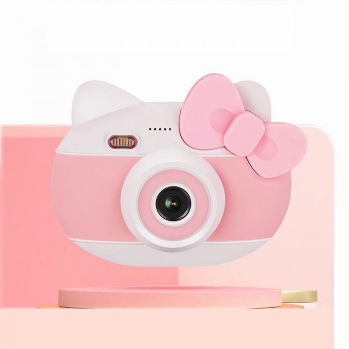 Aparat foto pentru copii Design Hello Kitty, Display 2 inch, Rezolutie 1080P, Wi-Fi, Foto/Video, Selfie, Blitz, Camera duala, Smartic®, roz 1