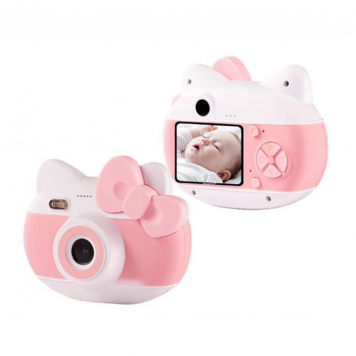 Aparat foto pentru copii Design Hello Kitty, Display 2 inch, Rezolutie 1080P, Wi-Fi, Foto/Video, Selfie, Blitz, Camera duala, Smartic®, roz 2