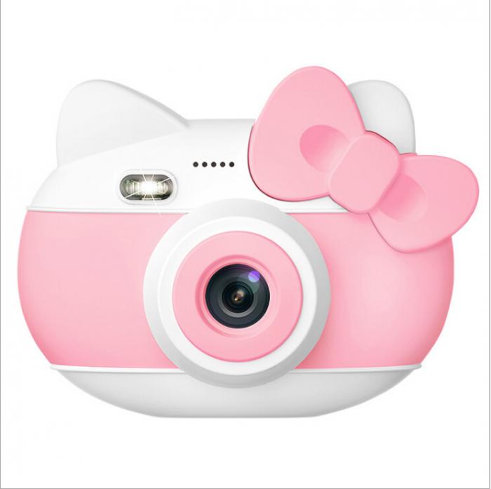 Aparat foto pentru copii Design Hello Kitty, Display 2 inch, Rezolutie 1080P, Wi-Fi, Foto/Video, Selfie, Blitz, Camera duala, Smartic®, roz 0