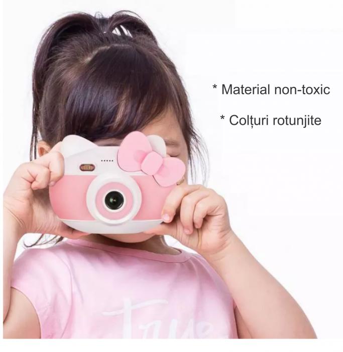 Aparat foto pentru copii Design Hello Kitty, Display 2 inch, Rezolutie 1080P, Wi-Fi, Foto/Video, Selfie, Blitz, Camera duala, Smartic®, roz 6