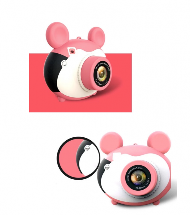 Aparat foto pentru copii, Design Mickey Mouse, Display 2 inch, Microfon incorporat, Rezolutie 1080P, Wi-Fi, Functie inregistrare, Muzica, Smartic®, roz [3]