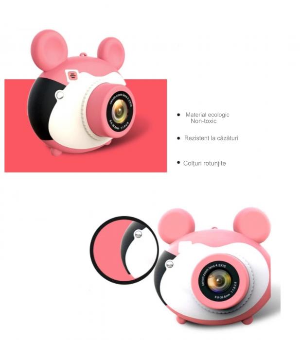 Aparat foto pentru copii, Design Mickey Mouse, Display 2 inch, Microfon incorporat, Rezolutie 1080P, Wi-Fi, Functie inregistrare, Muzica, Smartic®, roz [5]