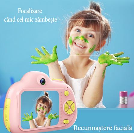 Aparat Foto pentru copii SMARTIC, Compact , Roz, cu functie Selfie, Recunoastere Faciala, Filmare HD 3