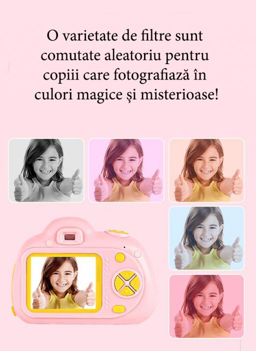 Aparat Foto pentru copii SMARTIC, Compact , Roz, cu functie Selfie, Recunoastere Faciala, Filmare HD 7