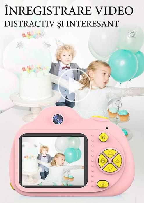 Aparat Foto pentru copii SMARTIC, Compact , Roz, cu functie Selfie, Recunoastere Faciala, Filmare HD 5