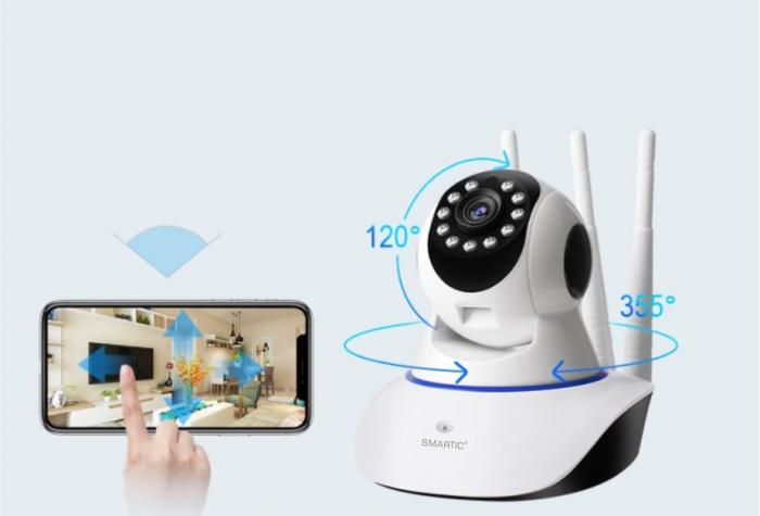 Baby monitor Camera Wireless V380IP, 3 antene 1080P, WiFi, NightVision, Aplicatie Telefon Mobil SMARTIC®, alb [4]