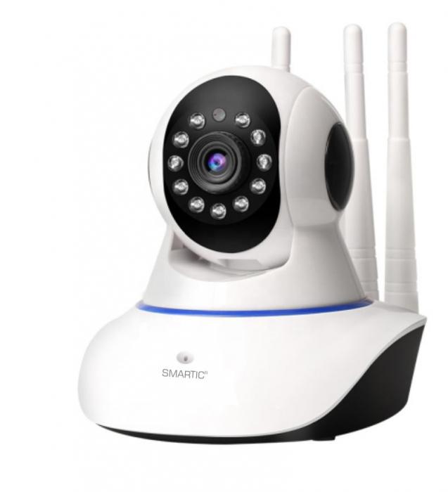Baby monitor Camera Wireless V380IP, 3 antene 1080P, WiFi, NightVision, Aplicatie Telefon Mobil SMARTIC®, alb [2]