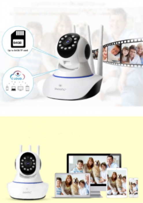 Baby monitor Camera Wireless V380IP, 3 antene 1080P, WiFi, NightVision, Aplicatie Telefon Mobil SMARTIC®, alb 3