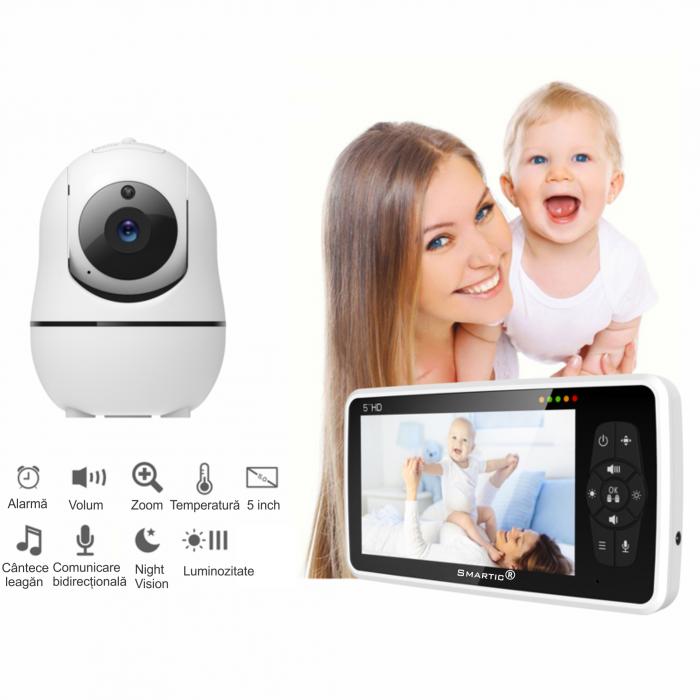 Baby monitor SM950, Display TFT LCD 5 inch, Raza actiune 300 m,  Rotire orizontala 355° / verticala 115°, Night Vision, Comunicare bidirectionala, Cantece leagan, Alarma, Monitorizare temperatura, Sma [7]