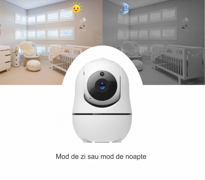 Baby monitor SM950, Display TFT LCD 5 inch, Raza actiune 300 m,  Rotire orizontala 355° / verticala 115°, Night Vision, Comunicare bidirectionala, Cantece leagan, Alarma, Monitorizare temperatura, Sma [5]