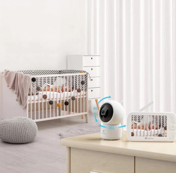 Baby monitor SM956, Display TFT 5 inch, Raza actiune 100 m,  Rotire orizontala 355° / verticala 55°, Night Vision, Comunicare bidirectionala, Cantece leagan, Monitorizare temperatura, Smartic®, alb [5]