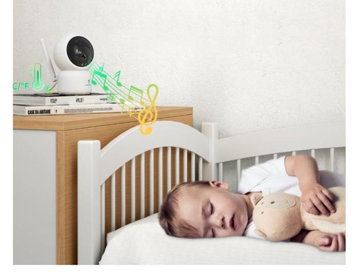 Baby monitor SM956, Display TFT 5 inch, Raza actiune 100 m,  Rotire orizontala 355° / verticala 55°, Night Vision, Comunicare bidirectionala, Cantece leagan, Monitorizare temperatura, Smartic®, alb [6]
