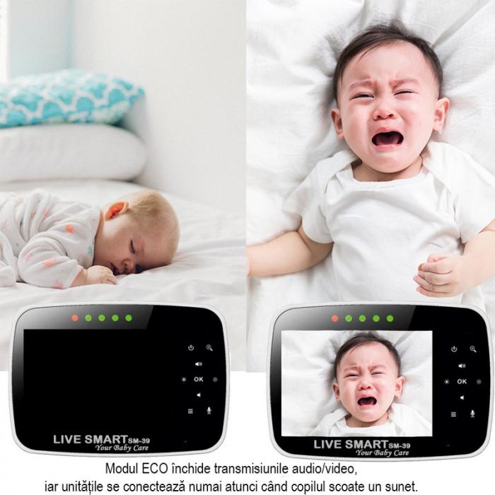 Baby Monitor Smart SI-LiveSmart SM39, WI-FI, Rotire 355⁰ orizontala / 120⁰ verticala, Comunicare bidirectionala, Activare Vocala, Cantece Leagan incorporate, Alb/Negru 1