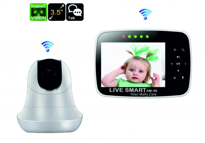 Baby Monitor Smart SI-LiveSmart SM39, WI-FI, Rotire 355⁰ orizontala / 120⁰ verticala, Comunicare bidirectionala, Activare Vocala, Cantece Leagan incorporate, Alb/Negru 5