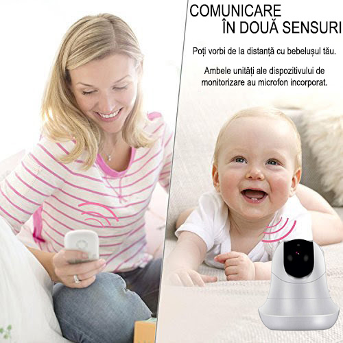 Baby Monitor Smart SI-LiveSmart SM39, WI-FI, Rotire 355⁰ orizontala / 120⁰ verticala, Comunicare bidirectionala, Activare Vocala, Cantece Leagan incorporate, Alb/Negru 3