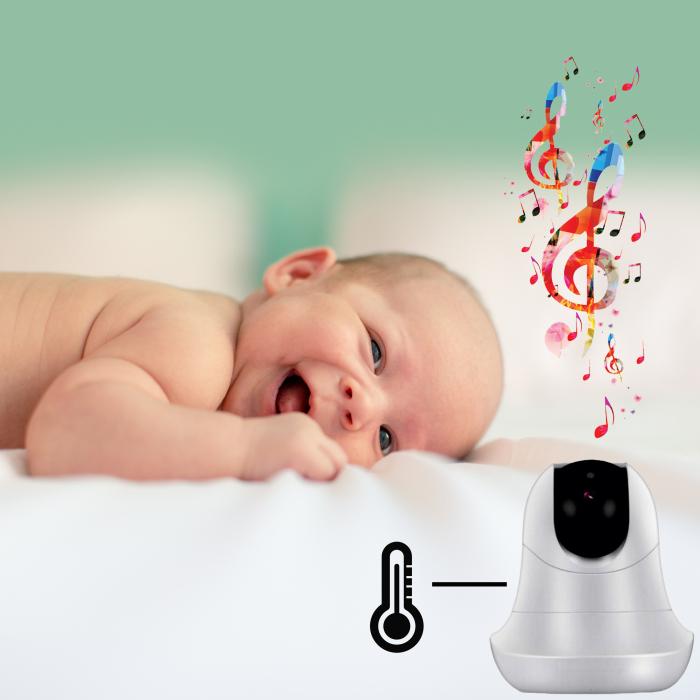 Baby Monitor Smart SI-LiveSmart SM39, WI-FI, Rotire 355⁰ orizontala / 120⁰ verticala, Comunicare bidirectionala, Activare Vocala, Cantece Leagan incorporate, Alb/Negru 4