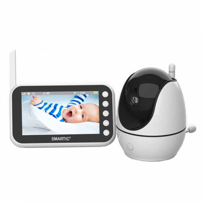 Baby monitor Smartic® BM200 Ecran HD 4.5 inch, Night Vision, Rotire Automata 355ᵒ orizontala/90ᵒ verticala, 8 cantece de leagan incorporate, Alarma, Monitorizare Temperatura,  alb/negru 0