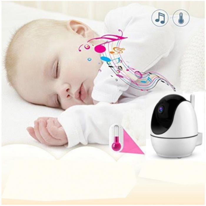 Baby monitor Smartic® BM200 Ecran HD 4.5 inch, Night Vision, Rotire Automata 355ᵒ orizontala/90ᵒ verticala, 8 cantece de leagan incorporate, Alarma, Monitorizare Temperatura,  alb/negru 5