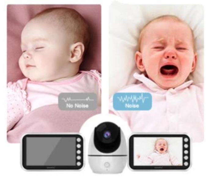 Baby monitor Smartic® BM200 Ecran HD 4.5 inch, Night Vision, Rotire Automata 355ᵒ orizontala/90ᵒ verticala, 8 cantece de leagan incorporate, Alarma, Monitorizare Temperatura,  alb/negru 3