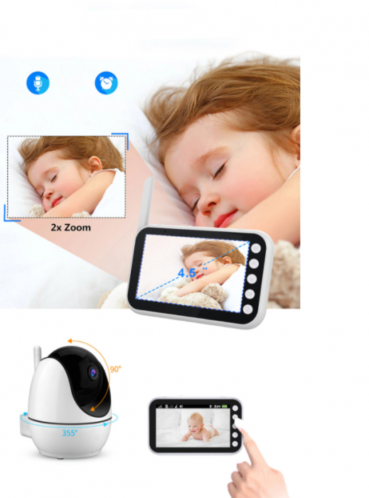 Baby monitor Smartic® BM200 Ecran HD 4.5 inch, Night Vision, Rotire Automata 355ᵒ orizontala/90ᵒ verticala, 8 cantece de leagan incorporate, Alarma, Monitorizare Temperatura,  alb/negru 4