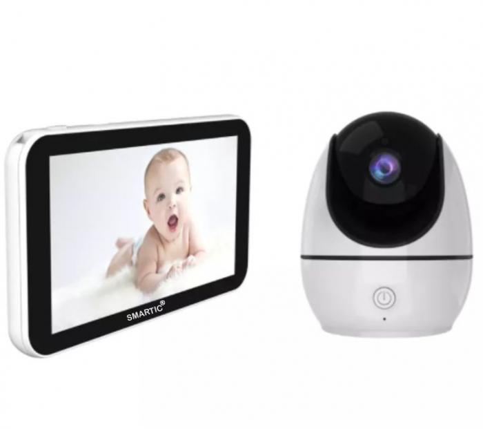 Baby monitor Smartic® BM500 Ecran 5 inch, TouchScreen, Night Vision, Comunicare Bidirectionala, Rotire Automata 355ᵒ, Cantece leagan, Monitorizare Temperatura, Raza 300 m, alb/negru [6]