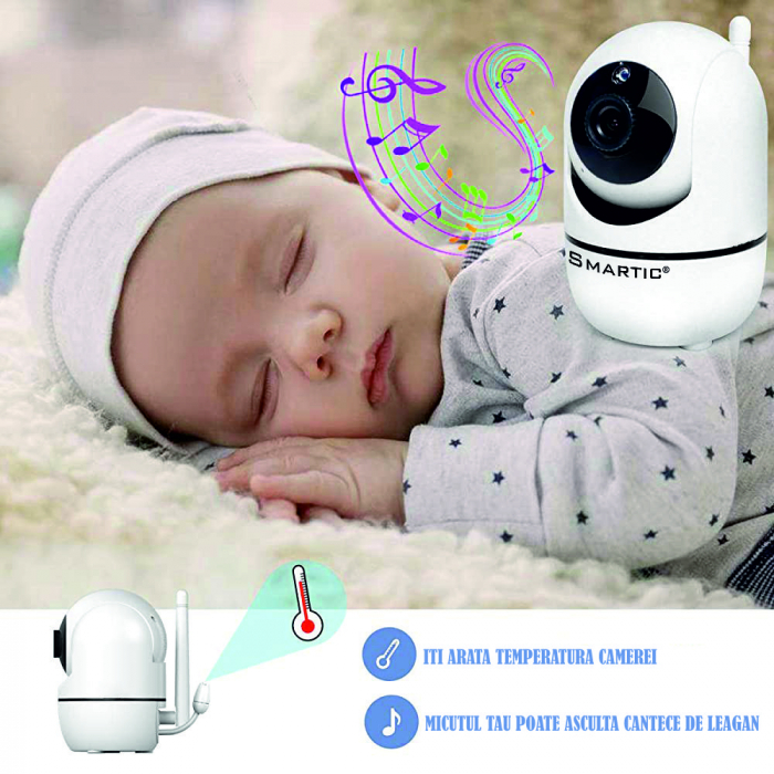 Baby Monitor SMARTIC SM32, WI-FI, Rotire 360 grade, Talk-Back, Activare Vocala, Cantece Leagan incorporate, Alb 3