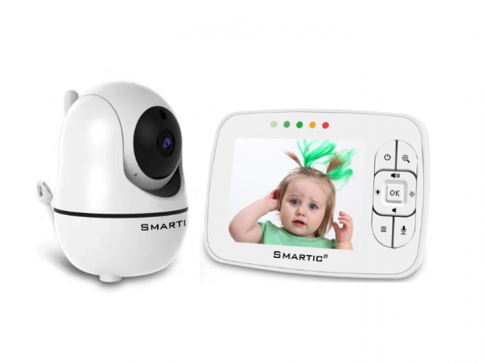 Baby Monitor SMARTIC SM32, WI-FI, Rotire 360 grade, Talk-Back, Activare Vocala, Cantece Leagan incorporate, Alb 0