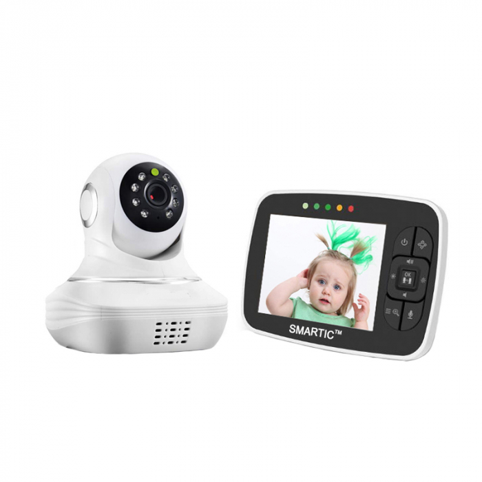 Baby Monitor SMARTIC SM38, camera 45 MP, Rotire Automata, Eco Mode, Cantece de leagan, Termometru, Alb/Negru 0
