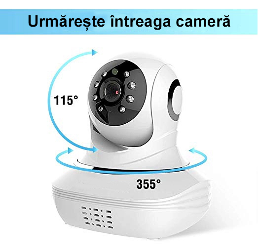 Baby Monitor SMARTIC SM38, camera 45 MP, Rotire Automata, Eco Mode, Cantece de leagan, Termometru, Alb/Negru 3