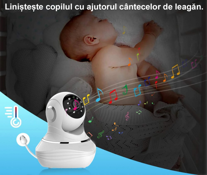 Baby Monitor SMARTIC SM38, camera 45 MP, Rotire Automata, Eco Mode, Cantece de leagan, Termometru, Alb/Negru 2