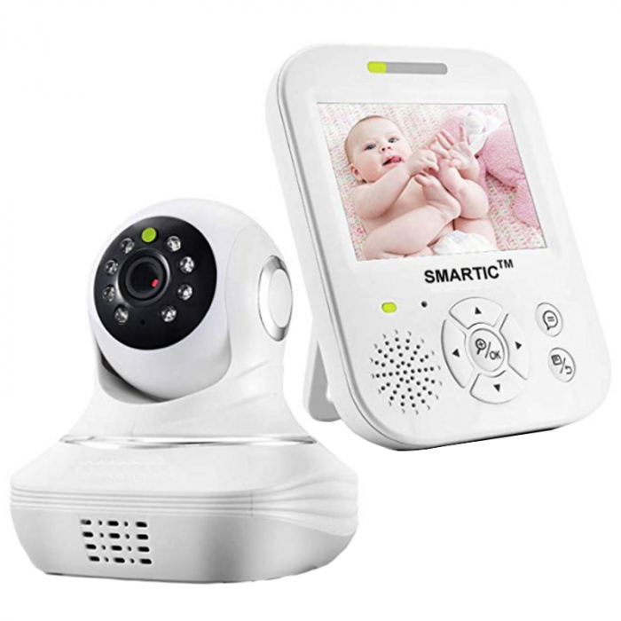 Baby Monitor SMARTIC SM96, Night Vision, Rotire Automata, Comunicare Bidirectionala, Alb/Negru 0