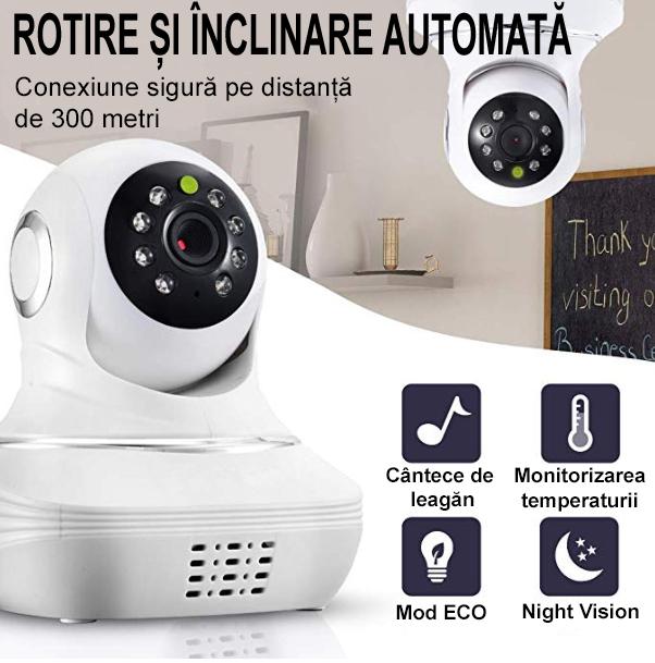Baby Monitor SMARTIC SM96, Night Vision, Rotire Automata, Comunicare Bidirectionala, Alb/Negru 3