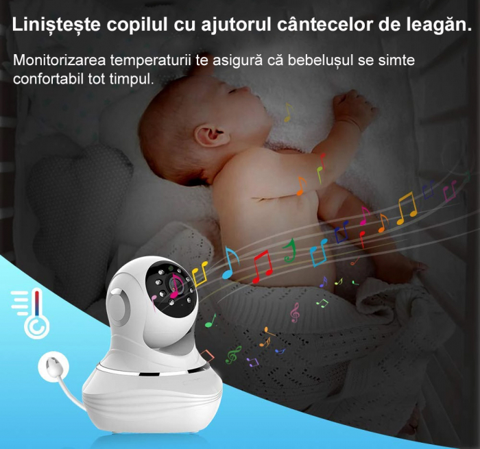 Baby Monitor SMARTIC SM96, Night Vision, Rotire Automata, Comunicare Bidirectionala, Alb/Negru 5