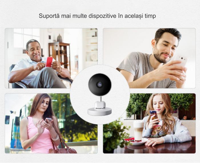 Baby Monitor V1, Rezolutie HD 1920 x 1080P, WiFi, Functia Night Vision, Aplicatie Telefon, Smartic®, alb [7]