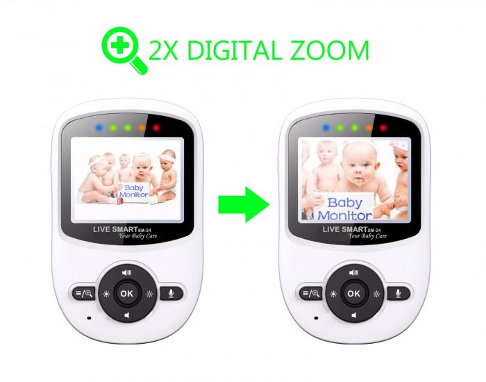 "Baby Monitor Video pentru bebelusi SI-LiveSmart SM24, night vision, TFT 2,4"",alarma temperatura,300 m ,360⁰ 4"