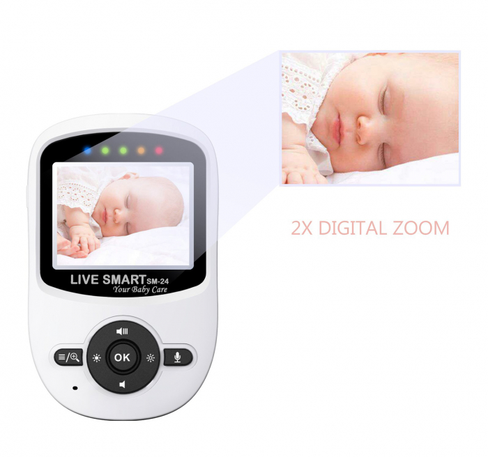 "Baby Monitor Video pentru bebelusi SI-LiveSmart SM24, night vision, TFT 2,4"",alarma temperatura,300 m ,360⁰ 5"