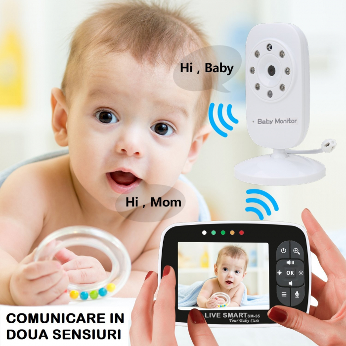 "Baby Monitor Video pentru bebelusi SI-LiveSmart SM35, night vision, TFT 2,5"",alarma temperatura,300 m ,360⁰ [4]"