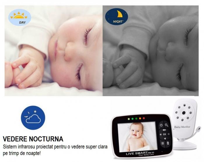 "Baby Monitor Video pentru bebelusi SI-LiveSmart SM35, night vision, TFT 2,5"",alarma temperatura,300 m ,360⁰ [1]"