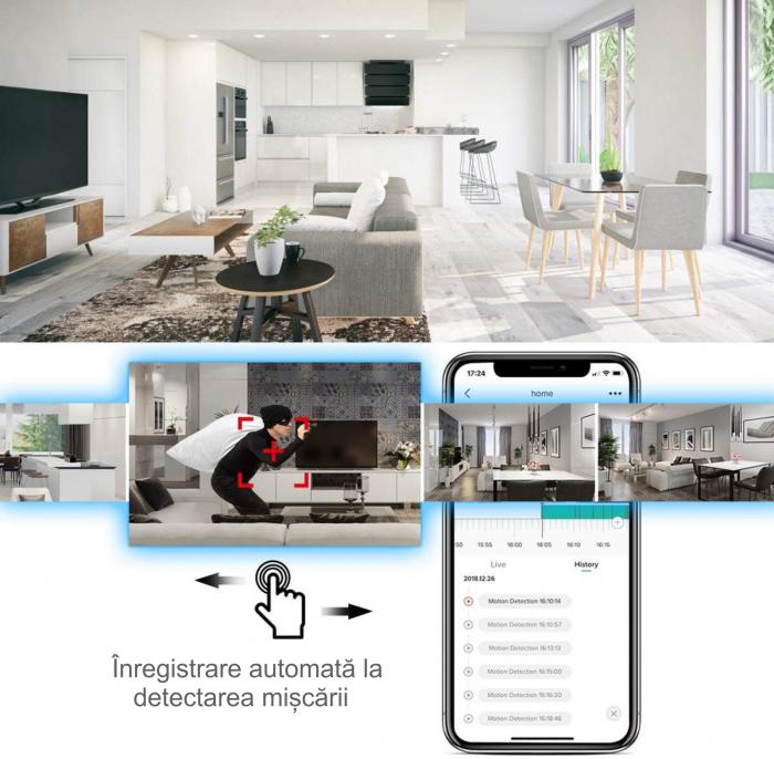 Baby Monitor Wireless cu picior flexibil, Rezolutie 1080P, WiFi, Night Vision, Aplicatie Telefon, Smartic®, alb [9]