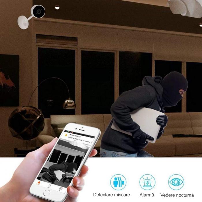 Baby Monitor Wireless cu picior flexibil, Rezolutie 1080P, WiFi, Night Vision, Aplicatie Telefon, Smartic®, alb [5]